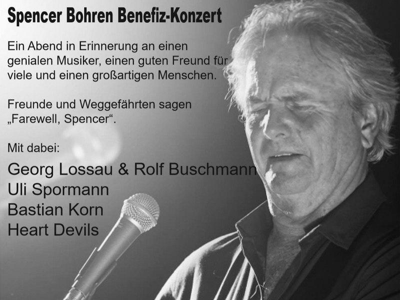 Ein Benefiz-Konzert zu Ehren des verstorbenen Musikers Spencer Bohren findet am 12. Juli statt. Bild: Veranstalter (Plakatauszug)