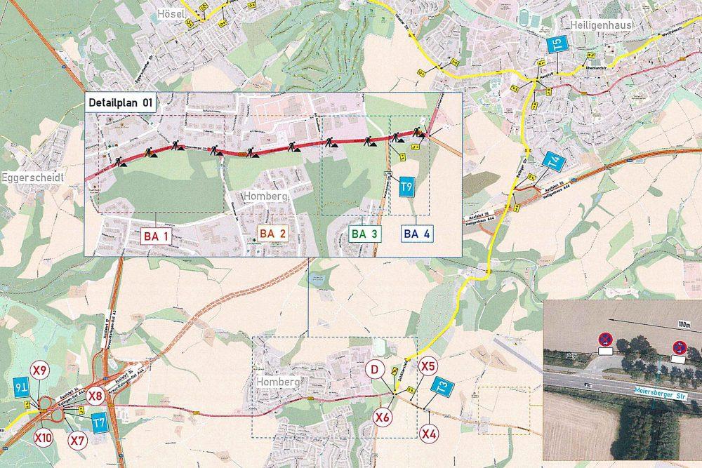 Die Ortsdurchfahr Ratingen-Homberg ist am Wochenende gesperrt. Grafik: Straßen.NRW
