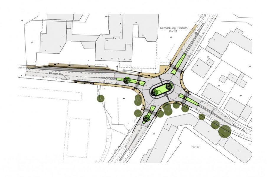 Die Skizze zeigt, wie der Kreisverkehr am Millrather Weg nach der Fertigstellung aussehen soll. Grafik: Stadt Erkrath