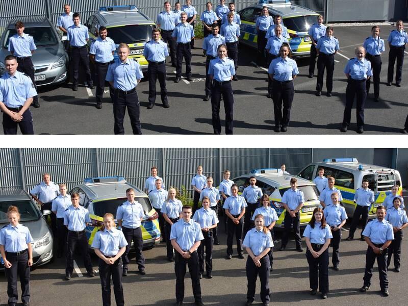 Die neuen Praktikanten der Kreispolizei in zwei Gruppen. Fotos: Polizei